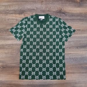 Gucci Men Monogram Printed Dark Green Tee